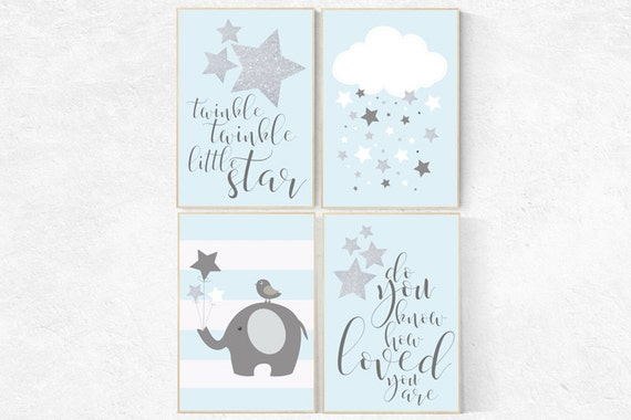 Twinkle twinkle little star nursery, blue gray nursery decor, baby boy nursery decor, elephant nursery, baby room decor elephant nursery art
