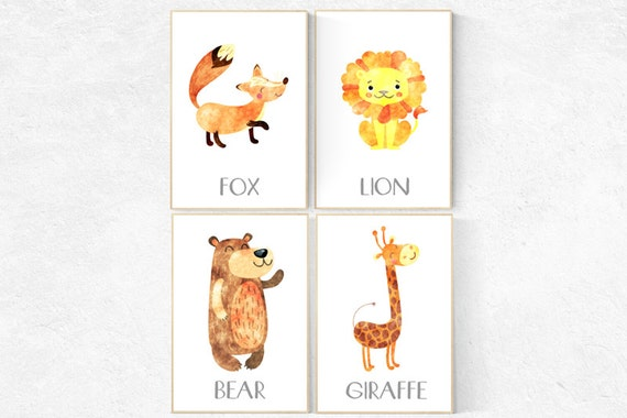 Nnursery wall art animals, nursery decor animals, nursery decor woodland, baby room art, baby room decor animal baby nursery wall art safari