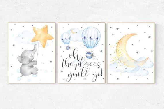 Nursery wall art neutral, nursery decor hot air balloons, gender neutral, Oh the places you'll go, moon and stars nursery, baby room decor