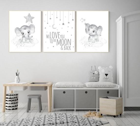 Gender neutral nursery prints, Gray nursery wall art, grey nursery, elephant nursery wall art, moon and stars, twin nursery wall decor