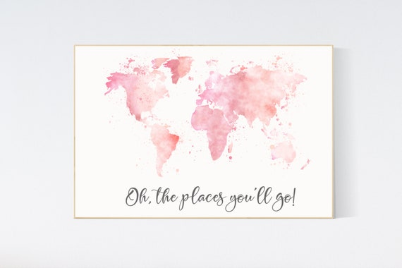 Blush pink watercolor world map, Nursery baby girl room, nursery wall art map, blush nursery, nursery decor girl map print