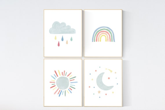 Nursery decor rainbow, neutral Rainbow Wall Art, rainbow Print Set, Cloud Rainbow Sun, Rainbow Wall Art, gender neutral, Watercolor Rainbow