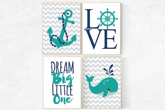 Nautical Nursery Art, Dream Big Little one, navy teal turqouise, Whale nursery, Baby Boy Nursery Wall Art, nautical kid art Baby Boy Nursery