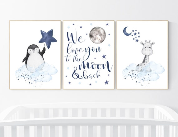 Nursery decor animals, giraffe, penguin, navy blue, baby room wall decor, animal prints, we love you to the moon and back, nursery art