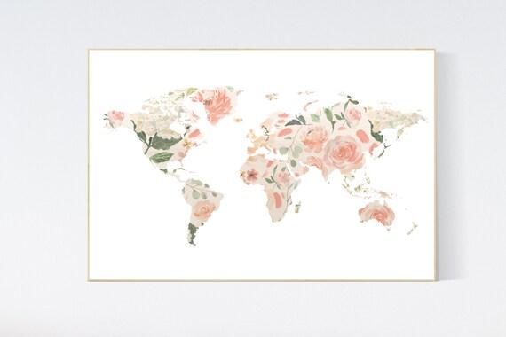 Floral World Map, Girl Nursery Decor, Travel Nursery Art, floral Nursery Print,  blush nursery, Nursery baby girl room, girl room decor