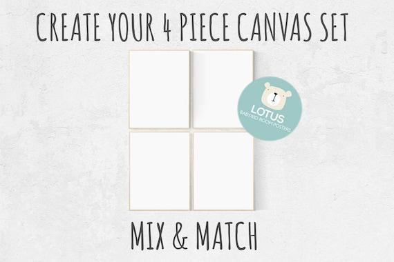 Choose Any 4 prints, Mix and match! Create your canvas set, Custom nursery decor, canvas nursery prints, set of 4 canvas prints, canvas