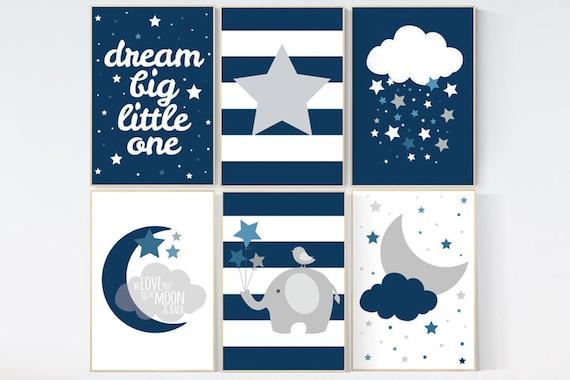 CUSTOMIZE! NAVY Nursery decor boy, nursery prints boys, nursery prints quotes, nursery decor wall art, navy blue nursery decor, dream big,