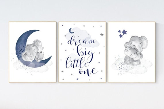 Nursery decor elephant, nursery decor boy navy blue, dream big little one, moon and stars, navy blue nursery art. baby room art, elephant
