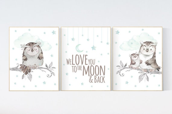 Mint nursery decor, we love you to the moon and back, Nursery decor owl, owl nursery art, nursery wall art mint, mint green, gender neutral