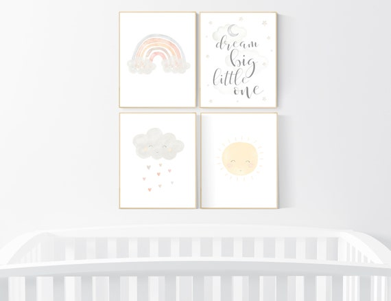 Gender neutral nursery, Nursery decor rainbow, neutral Rainbow Wall Art, rainbow Print Set, Cloud Rainbow Sun, Rainbow art, gender neutral