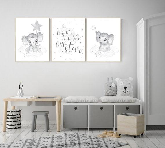 Grey nursery wall art, gender neutral, elephant nursery wall art, moon and stars, gray nursery art, baby room decor, neutral, twin nursery