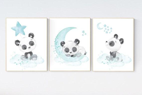 Panda nursery, teal nursery decor, gender neutral prints, mint nursery wall art, panda prints, animal nursery wall art, neutral nursery