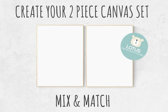 Choose Any 2 prints, Mix and match! Create your canvas set, Custom nursery decor, canvas nursery prints, set of 2 canvas prints, canvas