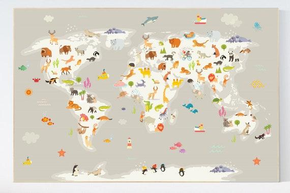 Nursery world map, Animal world map, animal map nursery, Animals map, animal map of the world, gender neutral nursery, animals of the world