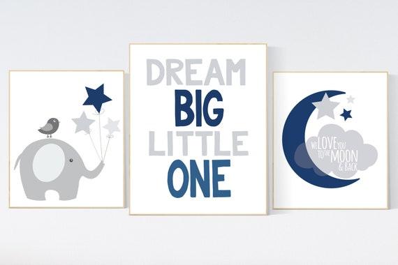 Navy blue nursery decor, dream big little one, nursery decor, elephant nursery, NAVY gray Nursery decor boy, nursery prints quotes