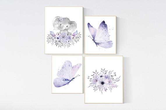 Nursery decor girl butterfly, nursery decor girl boho, nursery wall art purple, lilac, lavender, Butterfly Nursery Art, floral, flower