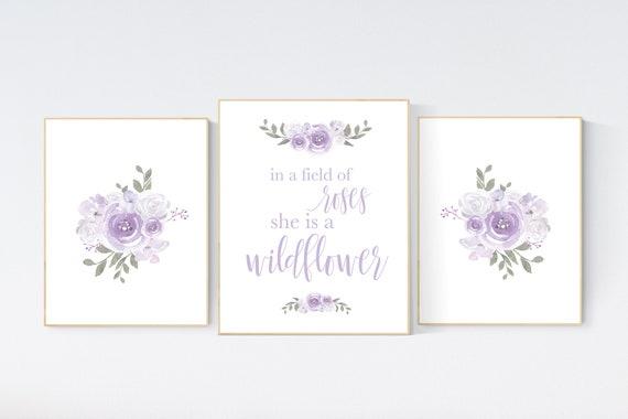Nursery decor girl lilac, in a field of roses she is a wildflower, purple nursery, girl nursery wall decor lavender nursery, lilac nursery