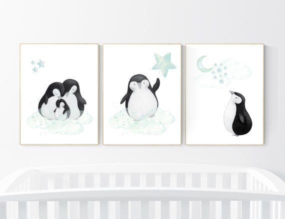 Mint nursery decor, nursery decor penguin, nursery decor neutral, nursery decor boy mint, cloud and star nursery, penguin nursery