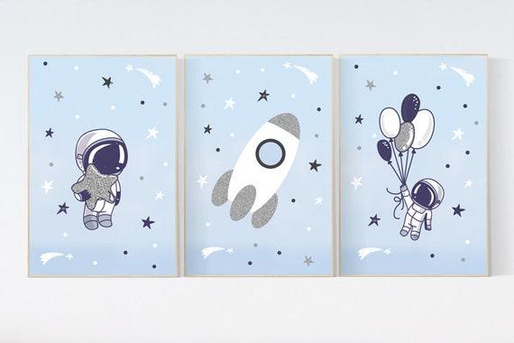Nursery decor boy space, space poster for kids, space nursery wall art, boys room decor space, planets nursery print, astronaut nursery
