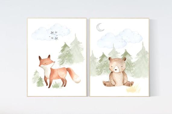 CANVAS LISTING: Woodland nursery decor, nursery wall art woodland animals, forest animal prints, gender neutral nursery art