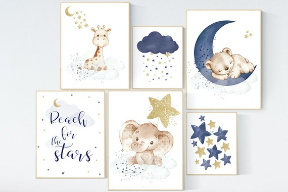 Nursery decor boy elephant, bear, giraffe, nursery wall art boy, navy Blue gold, moon and stars, boy nursery decor, animal nursery print set