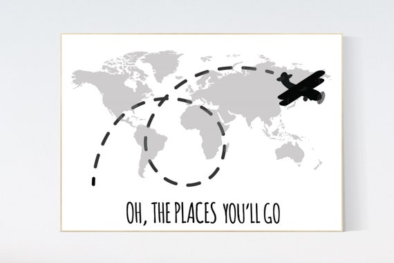 Oh the places you'll go, grey nursery decor, black and white, gray, travel nursery decor, World Map wall art, world map, grey nursery, gray