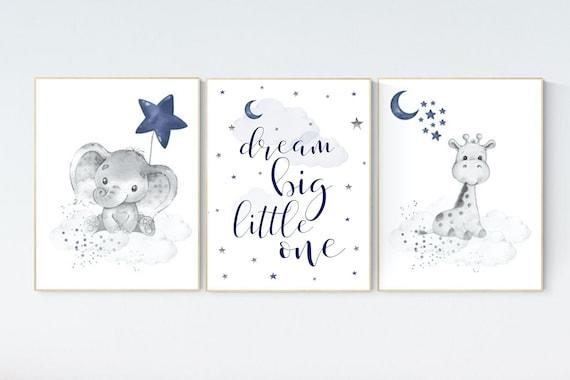 Nursery decor elephant and giraffe, animal nursery prints, navy nursery, navy blue nursery, baby room wall art, woodland animal prints