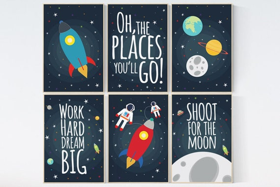 CANVAS LISTING: Space nursery decor, baby boy nursery oh the places you'll go, outer space nursery, space print, Space themed nursery
