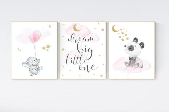 Nursery decor elephant, Nursery decor girl wall art, girls room decor pink, pink and gold nursery, animal balloon print, elephant nursery