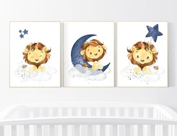 Lion nursery wall art, Nursery decor boy, navy nursery art, boy nursery ideas, boy nursery decor, safari animals, animal prints, boys room