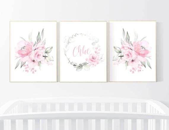 Nursery decor flower, Nursery decor girl pink, nursery decor girl floral, flower nursery, girl nursery wall art, pink nursery, boho nursery