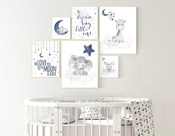 Nursery decor boy elephant, giraffe, boy nursery decor, moon and stars, navy nursery, boy nursery wall art, we love you to the moon and back