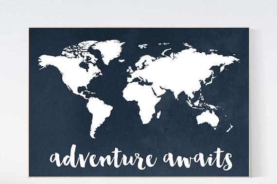 Navy World Map print, Adventure awaits Nursery print, Kid's Room Decor, Children's playroom, toddler navy baby wall art, world map gift