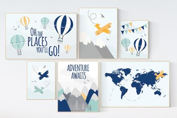 Adventure nursery decor, Nursery decor boy mountains adventure, nursery decor boy airplane, world map nursery, adventure awaits, navy yellow