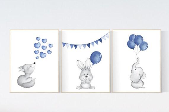 Navy blue nursery, Nursery decor boy, elephant, bunny, fox, Baby Animal Nursery Art, Woodland animals, Nursery Prints, boy nursery wall art