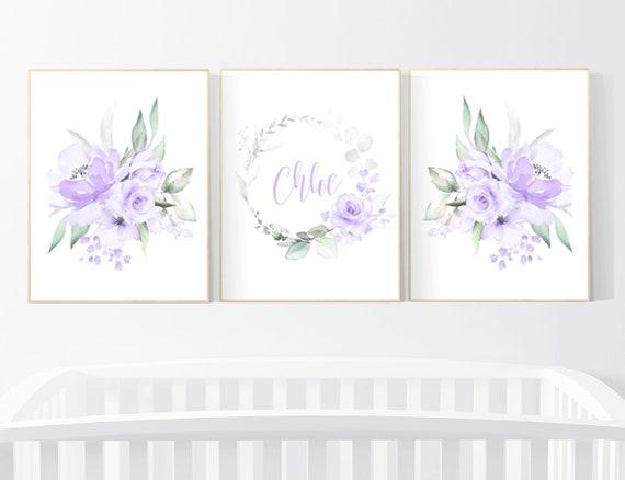 Nursery decor girl flower, Nursery decor girl purple, nursery decor girl flower, lavender, lilac nursery, nursery decor girl name, boho