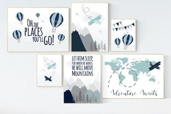Nursery decor boy mountain, adventure nursery, navy nursery, airplane, world map, hot air balloon, Let him sleep, boy nursery ideas,