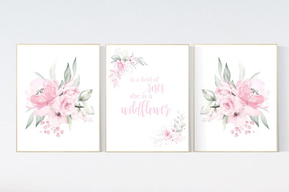 Nursery decor girl pink roses, nursery decor flower, nursery decor girl floral, flower nursery, In a field of roses she is a wildflower