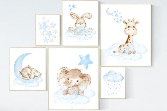 Nursery decor woodland, nursery wall art animals, nursery decor stars and moon, animal nursery prints, elephant, bunny, giraffe bear nursery