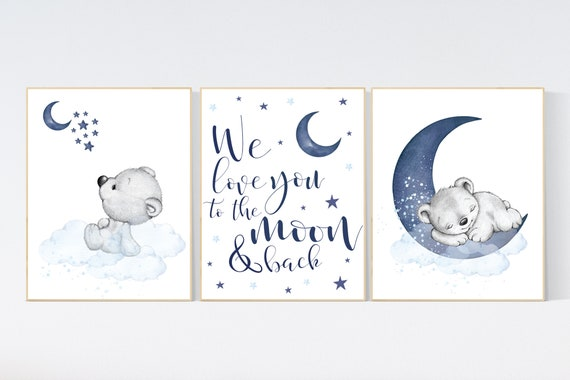 Nursery decor bear, nursery decor boy, bear nursery print, navy blue, teddy bear decor, nursery wall art animals, boy nursery wall art, navy