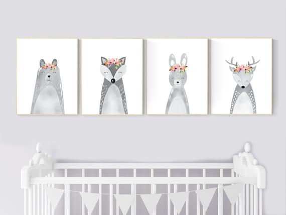 Nursery decor animals, woodland animals, Nursery decor girls, Nursery prints woodland, safari animals, nursery prints animals, jungle animal