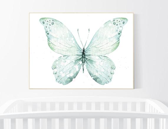 Nursery decor girl, nursery decor butterfly, nursery wall art, mint nursery, teal nursery, girls room decor turquoise, aqua, girl room decor