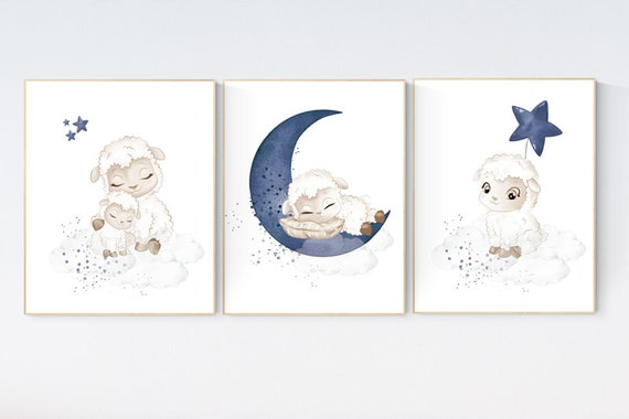 Sheep nursery decor, Nursery decor boy, nursery decor lambs, nursery wall art sheep, moon and cloud wall art nursery, navy nursery wall art