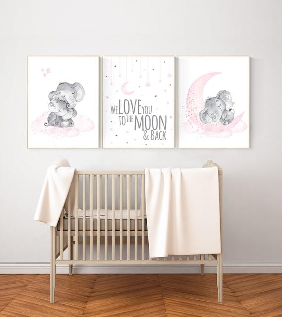 Nursery wall art girl elephant, pink and gray nursery, we love you to the moon and back, pink nursery art, moon and stars, baby room decor