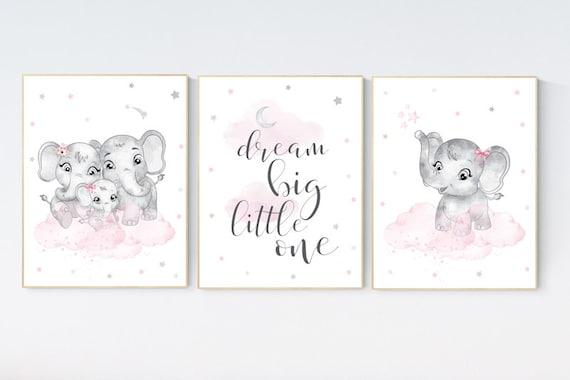 Nursery decor girl pink and gray, Elephant nursery wall art, girl nursery ideas, pink grey nursery wall decor, nursery prints girl