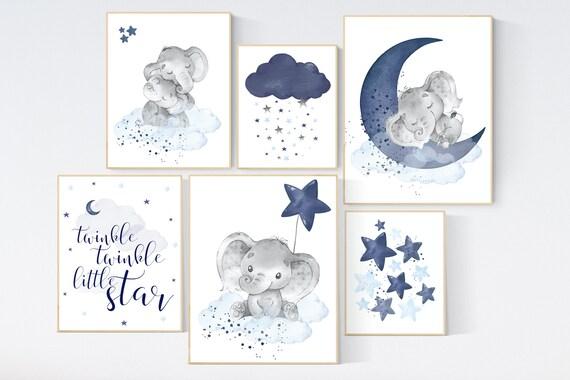 Nursery decor boy elephant, nursery wall art boy, navy Blue, moon and stars, navy nursery, boy nursery decor, elephant nursery art, star