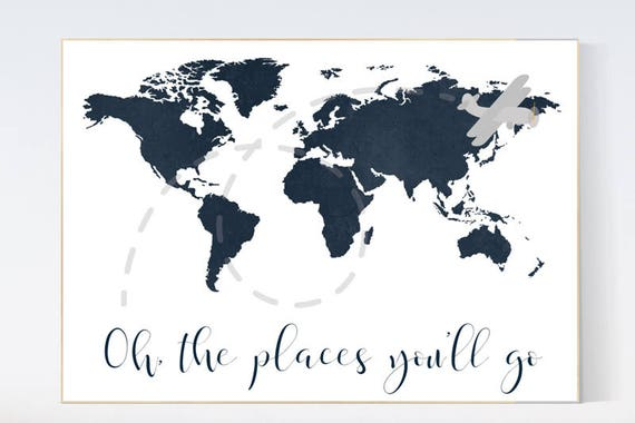 Navy nursery, Oh the places you'll go, world map wall art kids, navy blue, nursery decor boys, world map nursery, navy nursery, navy gray