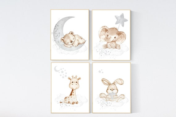 CANVAS LISTING: Nursery wall art animals, gray nursery, gender neutral nursery, neutral nursery, baby room decor, bear, elephant, giraffe