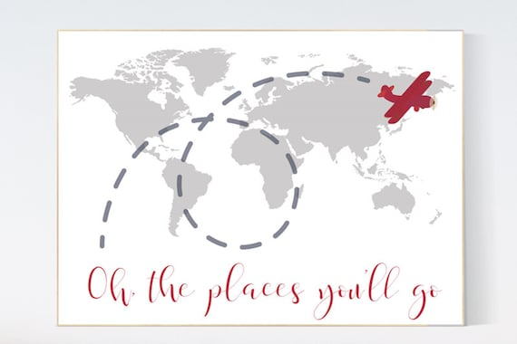 Oh the places you'll go, gray red nursery decor, travel nursery decor, World Map wall art, world map nursery, red gray nursery, grey nursery