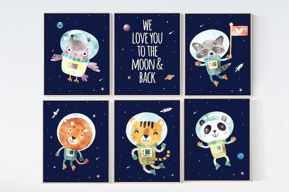 Nursery decor boy space, nursery prints Space,  Space themed nursery, we love you to the moon and back, outer space nursery, space nursery
